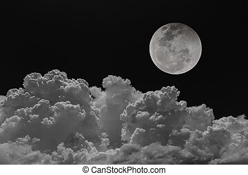 Backgrounds night sky of the moon with clouds.