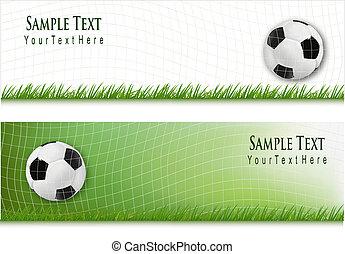 backgrounds., piłka nożna, dwa, vector.
