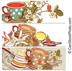 Backgrounds set with cups of tea or