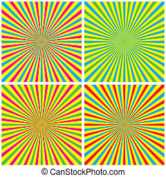 Backgrounds Set With Radial Rays vector illustration