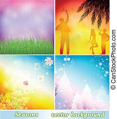 Backgrounds spring, summer, autumn, winter