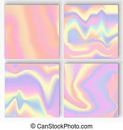 backgrounds., vecteur, ensemble, gradient, holographic