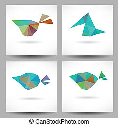 Backgrounds with abstract triangle birds