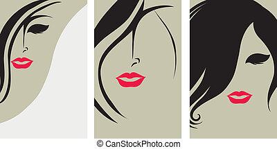 Backgrounds with hair styling - Vector set of backgrounds...