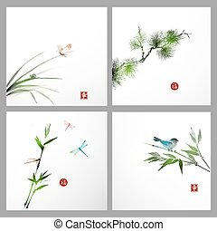 Backgrounds with pine tree, bird, butterfly