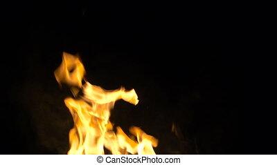 Backgrounf of burning orange fire with smoke