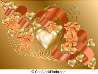 backgrouond with gold hearts