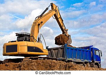 backhoe, 装货, a, 堆存处卡车