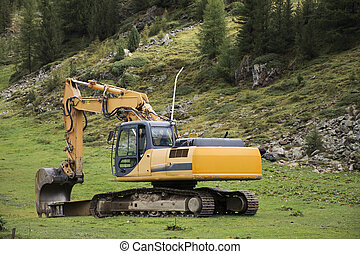backhoe, alpi, o, scavatore, montagna, luogo, caricatore, macchinario costruzione, otztal, fuori, durante, lavori in corso, earthmoving