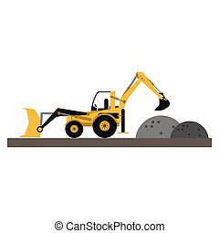 Backhoe and gravel on construction zone vector illustration...