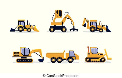 backhoe, apartamento, jogo, predios, escavador, equipment., pesado, carregador, vetorial, maquinaria, rocha, construção, truck.