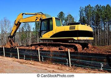 Backhoe at construction site