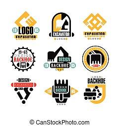 backhoe, bagger, service, satz, vektor, design, illustrationen, logo