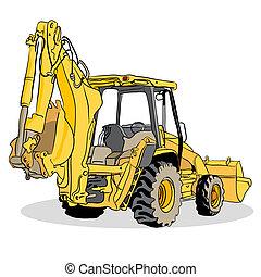 backhoe, cargador, vehículo