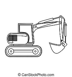 backhoe, carregador, contorno, ícone