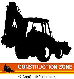 backhoe, carregador, veículo construção