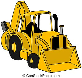 Backhoe - This illustration depicts a yellow construction...