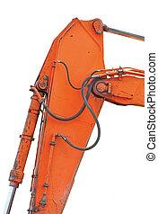 backhoe, dozer, viejo, pernos, excavador, vertical, genérico, cubo, carnero, hidráulica, aislado, amarillo, naranja, cucharón, enlaces, más, auge, mangueras, pistones, primer plano, detalles