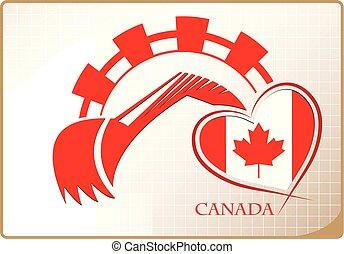 backhoe, drapeau canada, fait, logo
