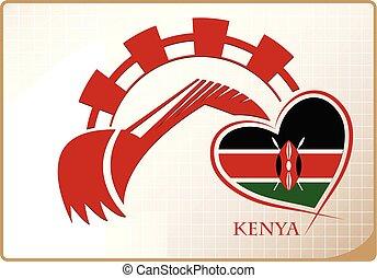 backhoe, drapeau kenya, fait, logo