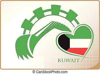 backhoe, drapeau kowéit, fait, logo