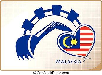backhoe, drapeau malaisie, fait, logo