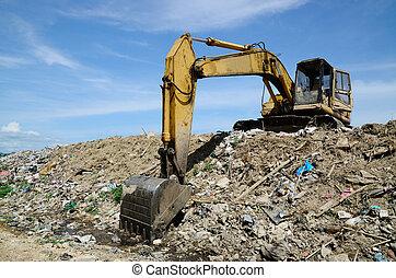 backhoe, dump., déchets