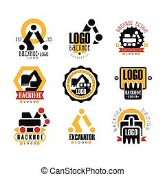 backhoe, e, scavatore, logotipo, disegno, set, vettore, illustrazioni