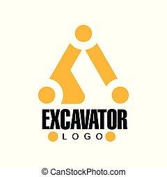 backhoe, excavator, 服务, 黄色, 标签, 矢量, 黑色, 描述, 标识语, 设计