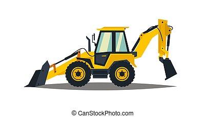 backhoe, illustration., equipment., amarela, carregador, machinery., experiência., vetorial, construção, branca, especiais