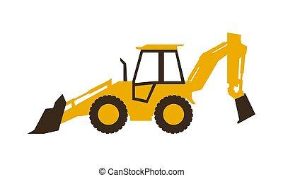 backhoe, illustration., lisse, machinery., loader., vecteur, construction, style., icône