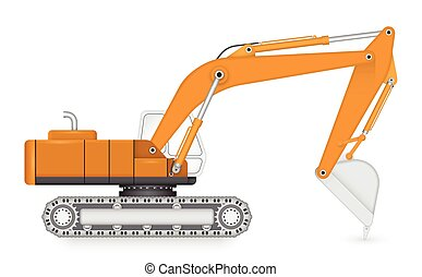 Backhoe - Illustration of back hoe on white background.