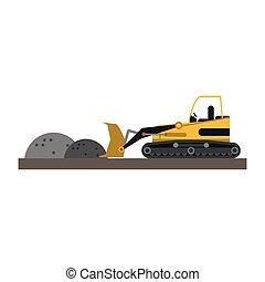 Backhoe loading gravel on construction zone vector...
