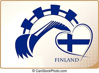 backhoe, logo, drapeau, fait, finlande