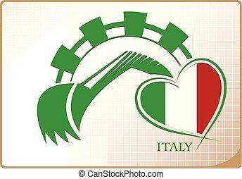 backhoe, logo, drapeau, fait, italie