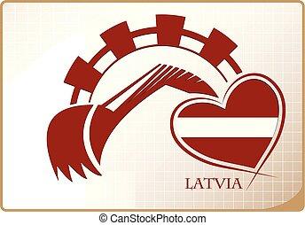 backhoe, logo, drapeau, fait, lettonie