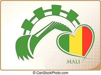 backhoe, logo, drapeau, fait, mali