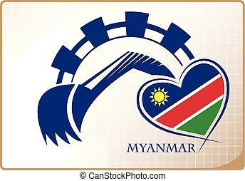 backhoe, logo, drapeau, fait, namibie