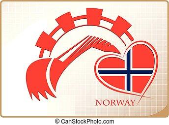 backhoe, logo, drapeau, fait, norvège