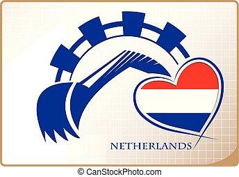 backhoe, logo, drapeau, fait, pays-bas