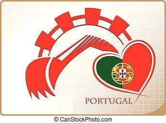 backhoe, logo, drapeau, fait, portugal