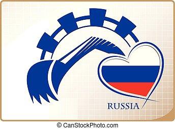 backhoe, logo, drapeau, fait, russie