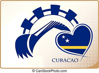 Backhoe logo made from the flag of Curacao