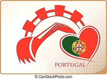 Backhoe logo made from the flag of Portugal
