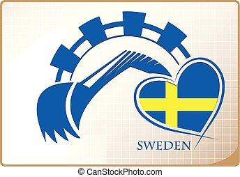 backhoe, logo, suède, fait, drapeau