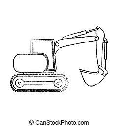 backhoe, mão, construção, monocromático, guindaste, desenho, contorno