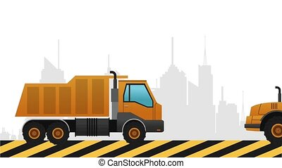 backhoe passing by city Under construction sign