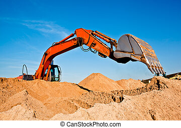 backhoe, quarrying, sable, creuser