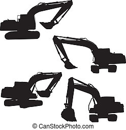 backhoe silhouette vector - action backhoe vector isolate on...
