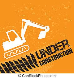 backhoe under construction - backhoe under constrution over...
